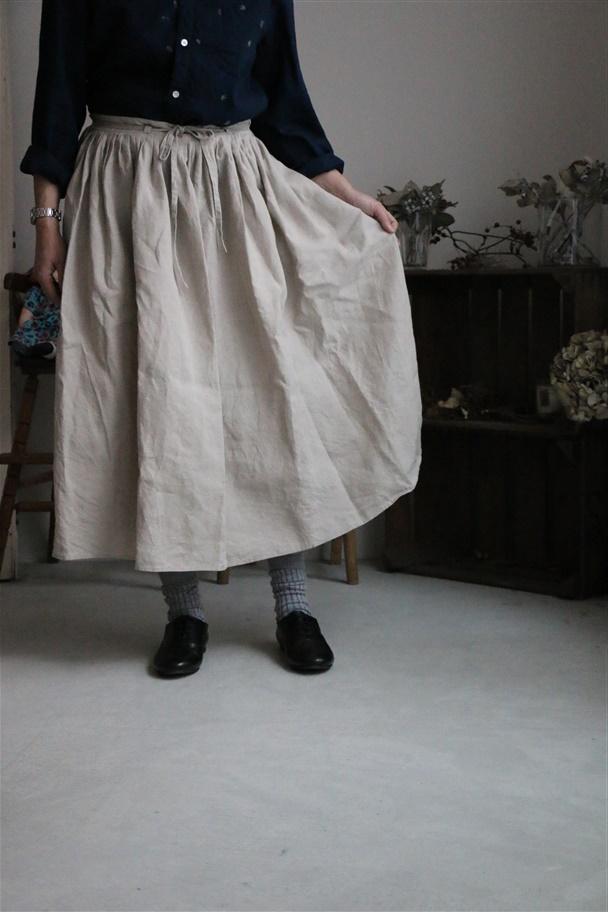 <再入荷>LBS005 Own GArment Products プリーツギャザースカート キナリ