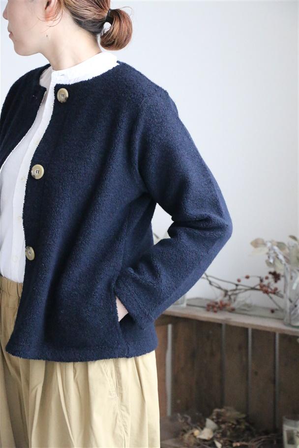 82172 FABRIQUE en planete terre wool pile boa Jacket 2色