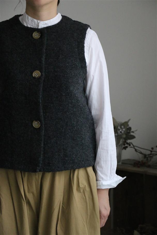 82171 FABRIQUE en planete terre wool pile boa vest 3色