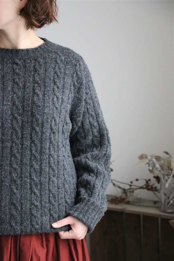 NJMS1851 Jamieson's CABLE CREW-NECK PULLOVER 3色