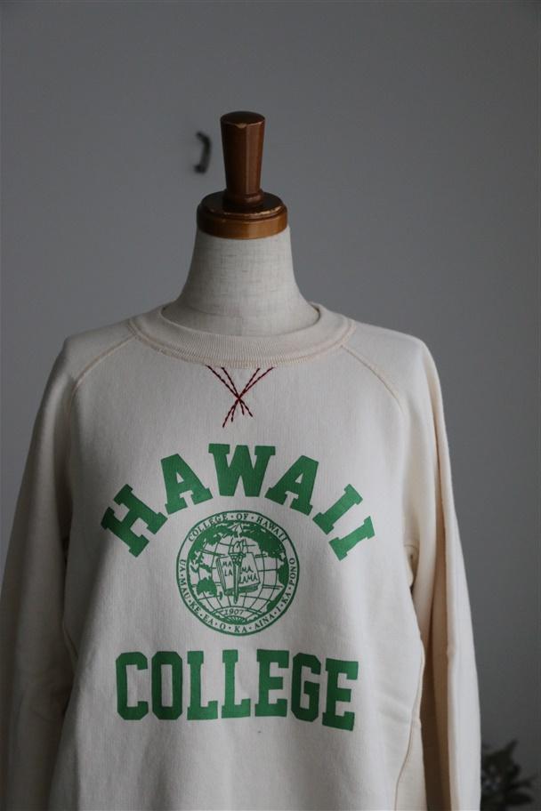 83C-61B 快晴堂 裏起毛ロゴトレーナー HAWAII COLLEGE  2色