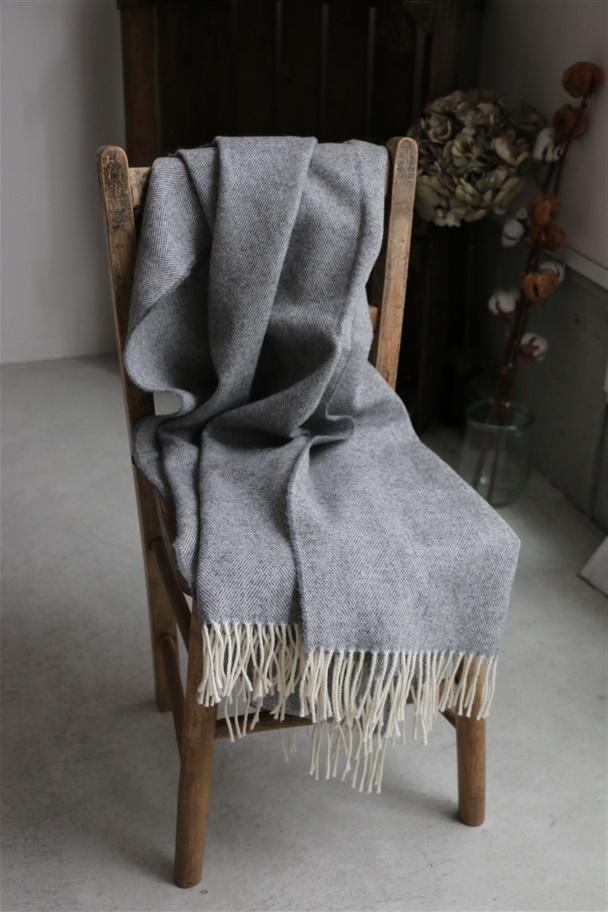 NDM1751 Donegal Mills HERRINGBONE WOOL STOLE gray