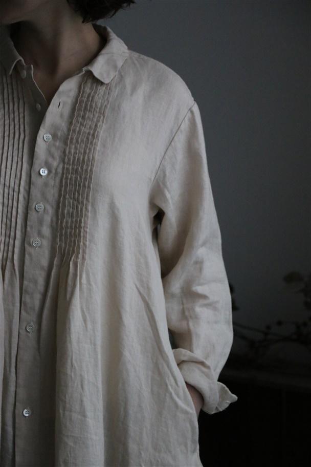 <SALE>13127181 vlas blomme ピンタックシャツワンピース 2色