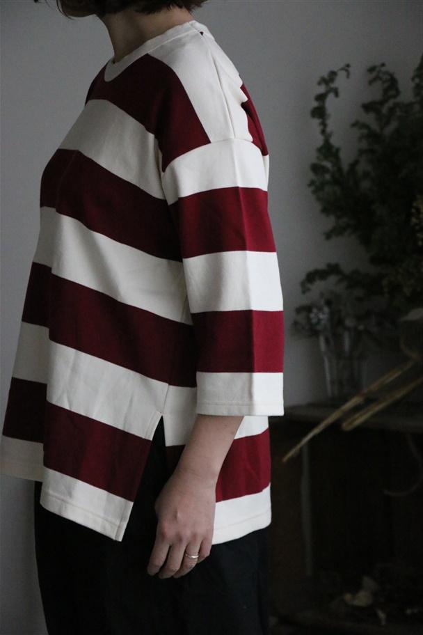 91924 prit 30/1ポンチボーダー7分袖スリットTシャツ 2色