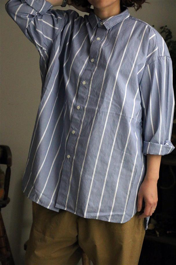 <SALE>81934 prit  80/2ストライプレギュラーカラービッグシャツ