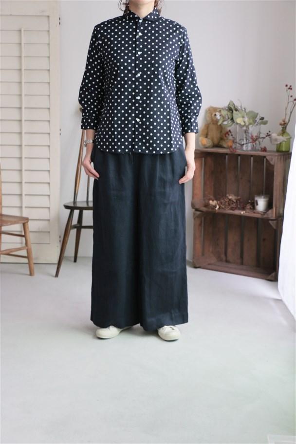 82716 prit 綿麻キャンブリック水玉プリント7分袖ラウンドカラーシャツ