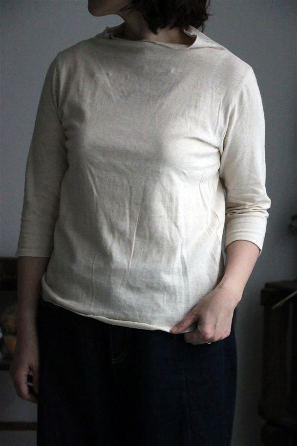<SALE>G093 Gauze(g) 綿麻天竺ボトルネック7分袖Tシャツ kinari