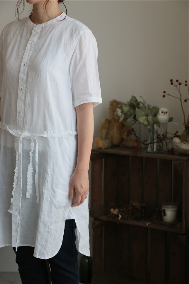 <SALE>13211561 vlas blomme フリル付シャツワンピース 01.ホワイト