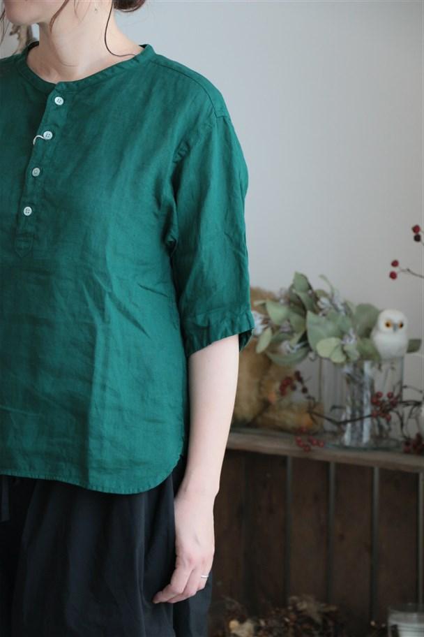 82759 prit 21/1フレンチリネン6分袖バンドカラープルオーバーシャツ 2色
