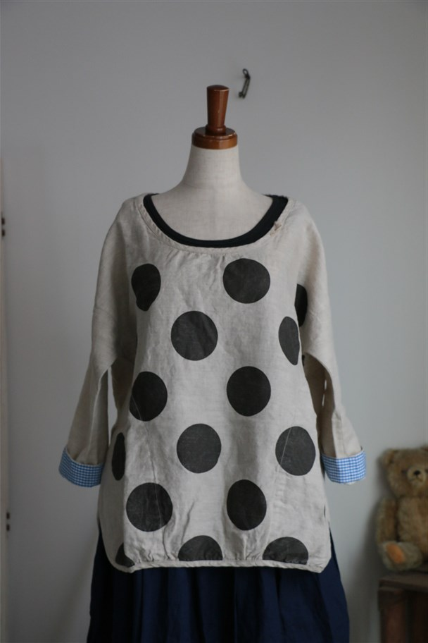 <SALE>71S-25 快晴堂 大水玉綿麻 Tシャツ