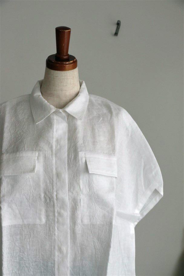 FTLC55 而今禾 幅広リネンシンプルシャツ オフホワイト