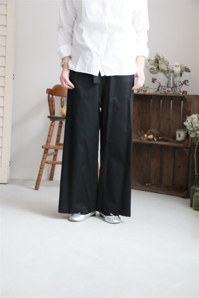 17AW012T si si si COTTTON TWILL RIBON PANTS BLACK