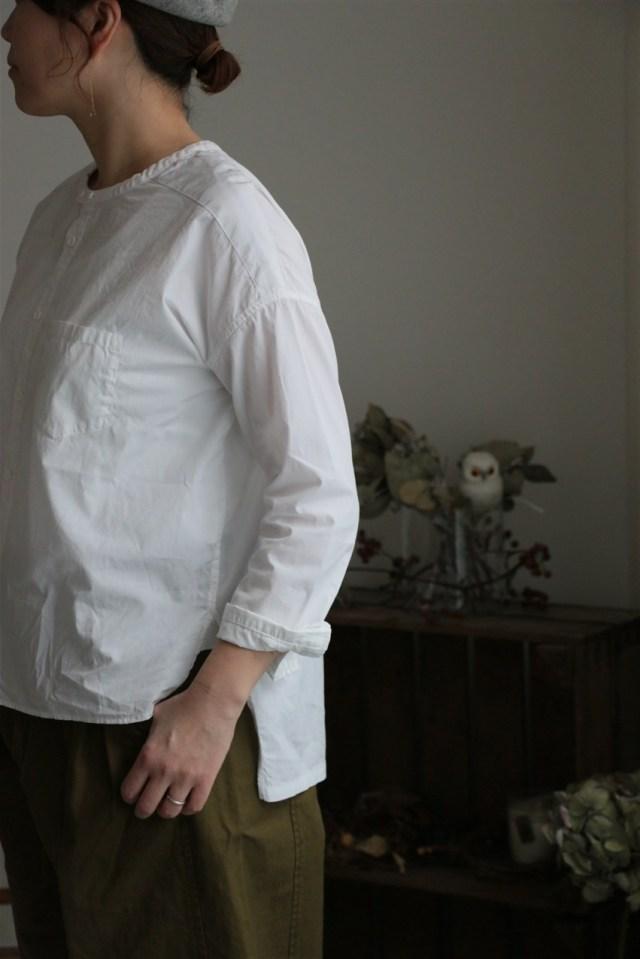 UT1780SH074 UNIVERSAL TISSU バンドカラーワーキングシャツ