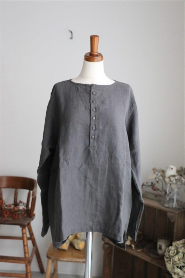 UTS014 Own GArment products ヘンリーネックシャツ スミクロ