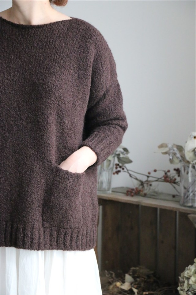 CNMDS1762 maison de soil CREW NECK PULLOVER WITH POCKET DK.BROWN