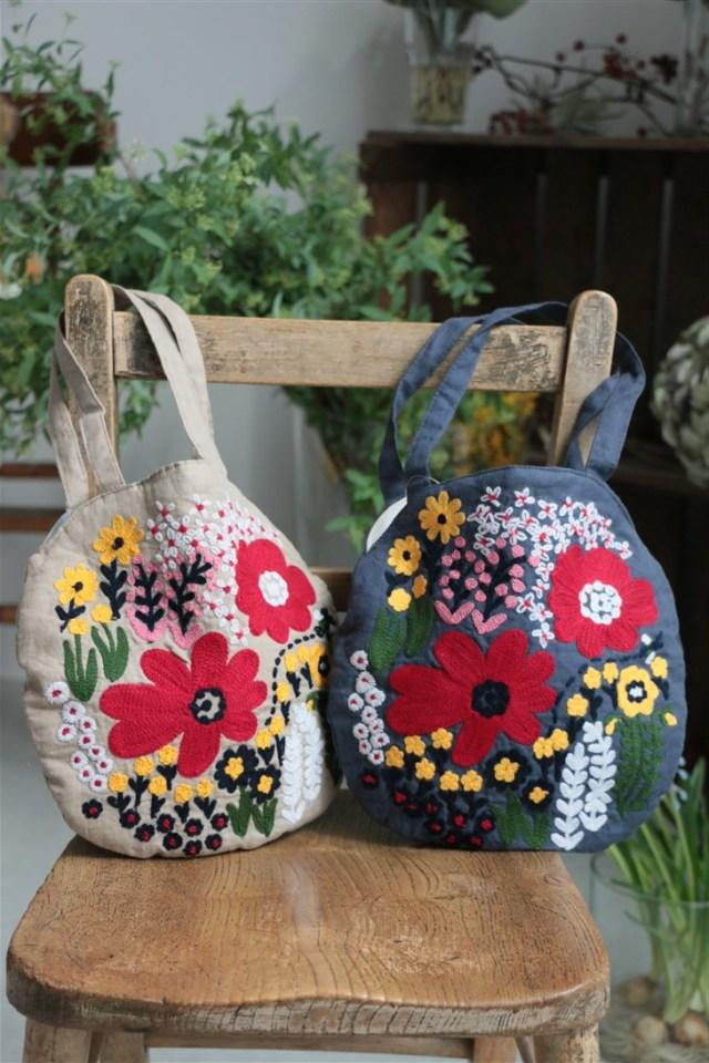 088S030142 marble SUD LINEN FLOWER BAG 2色