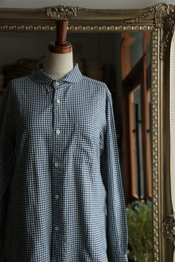 80747 prit 60/1引き揃えスピンオックスギンガムラウンドカラーシャツ 15.ブルー