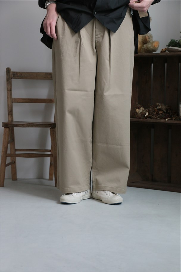 <SALE>1-762688 Midi Umi wide tucked chino pants beige