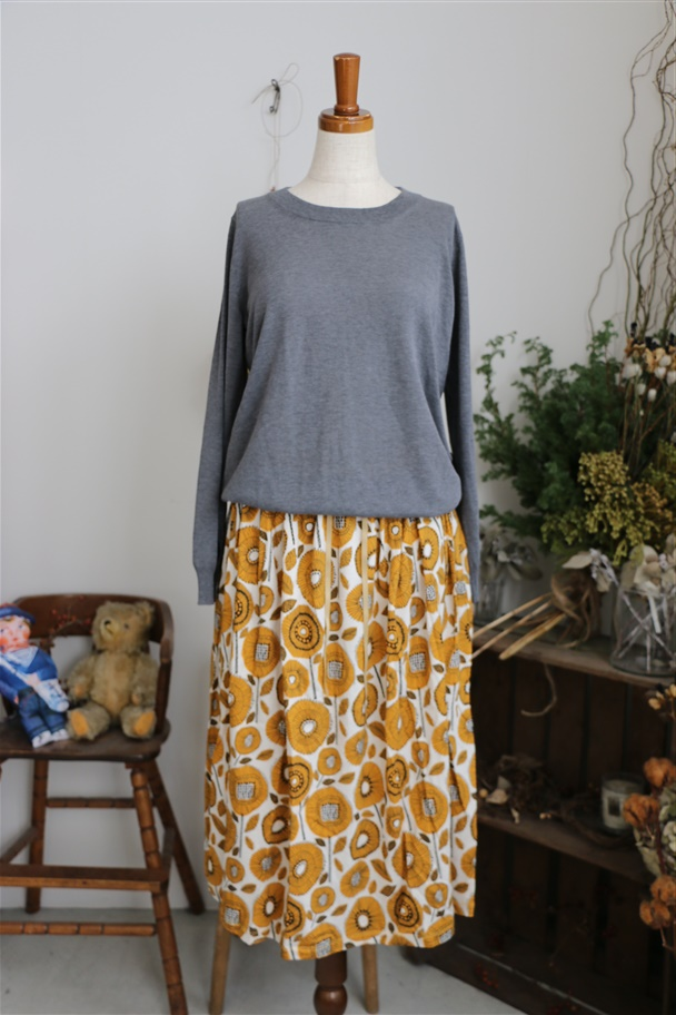 076M043078 marble SUD SUNFLOWER SKIRT YEL