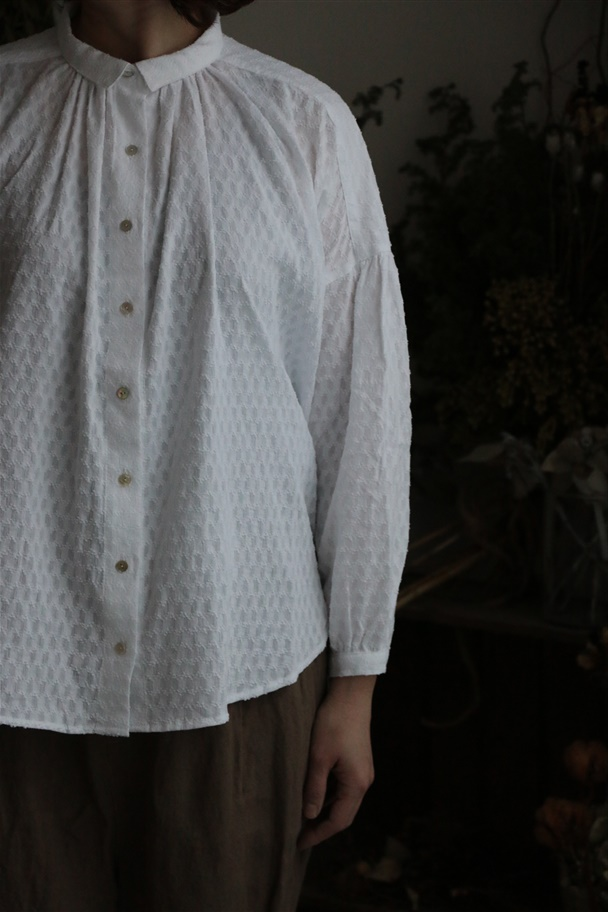 059S033082 marble SUD Cotton Dobby  ギャザーSHIRT 2色