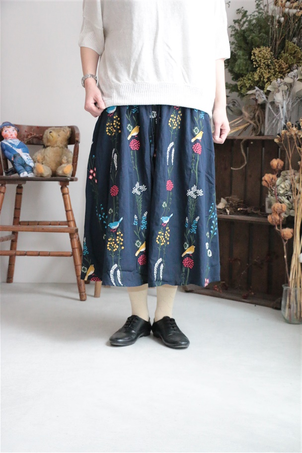 079S033060 marble SUD EMB BIRD FLOWER skirt
