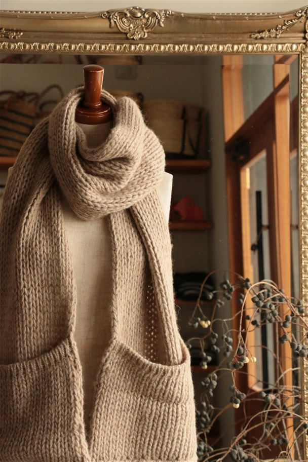 <SALE>NCL1461B CALIMAR ALPACA WOOL MUFFLER SCARF WITH POCKET AND FRINGE