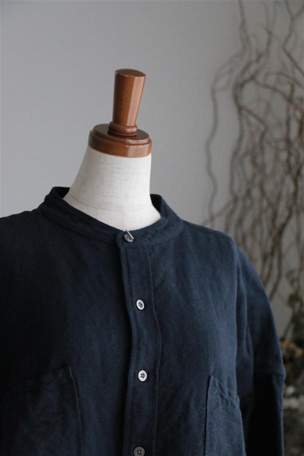 81946 prit リネンコットンキャンバススタンドカラービッグシャツ