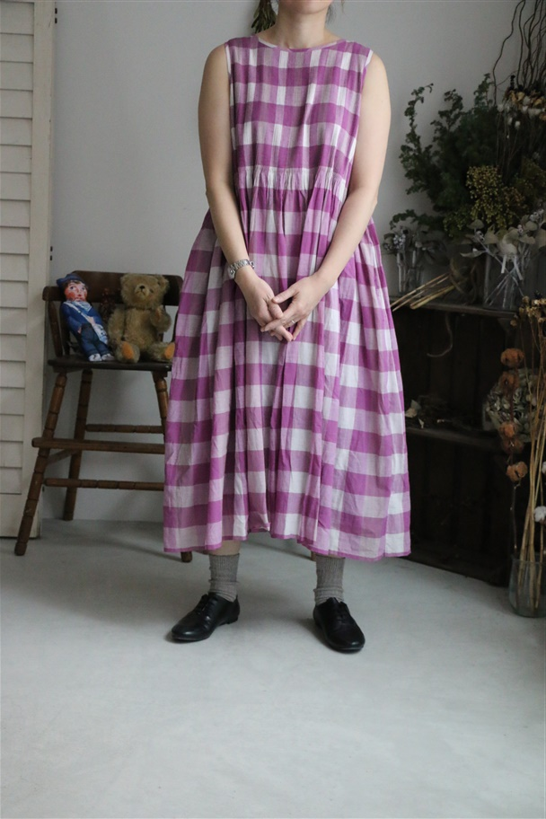 INMDS19164 maison de soil mini pintuck no/sl dress with lining 2色