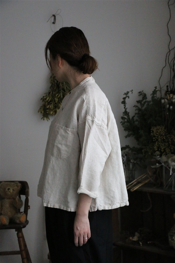 <SALE>81946 prit リネンコットンキャンバススタンドカラービッグシャツ 2色