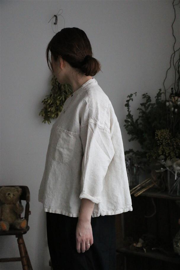 81946 prit リネンコットンキャンバススタンドカラービッグシャツ 2色