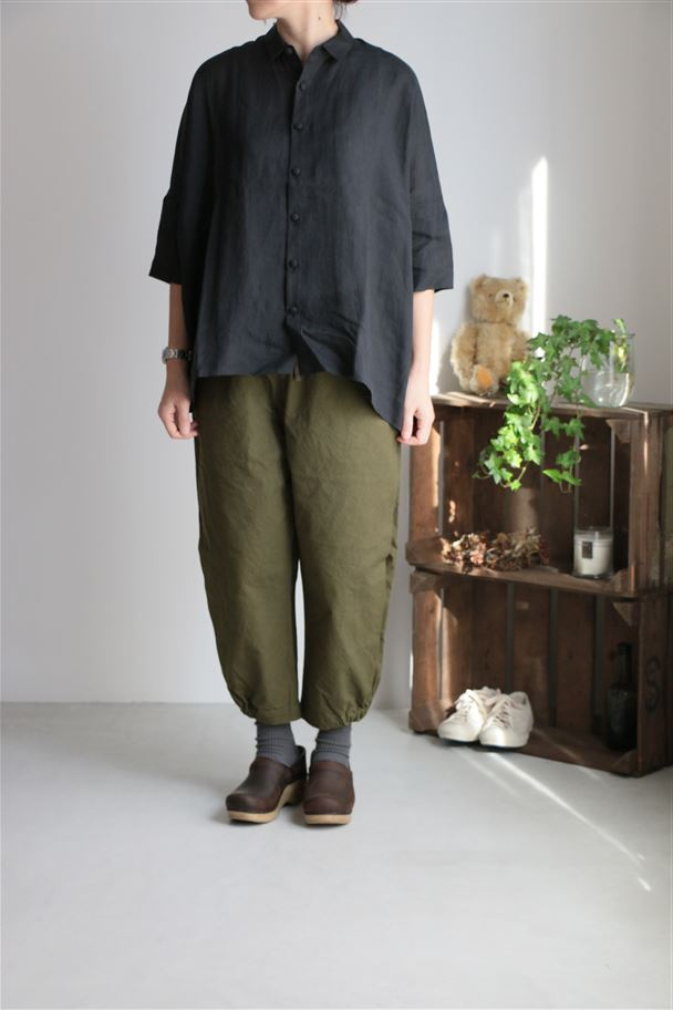 70705 prit 24/2ミリタリーキャンバス裾ゴムパンツ 2色