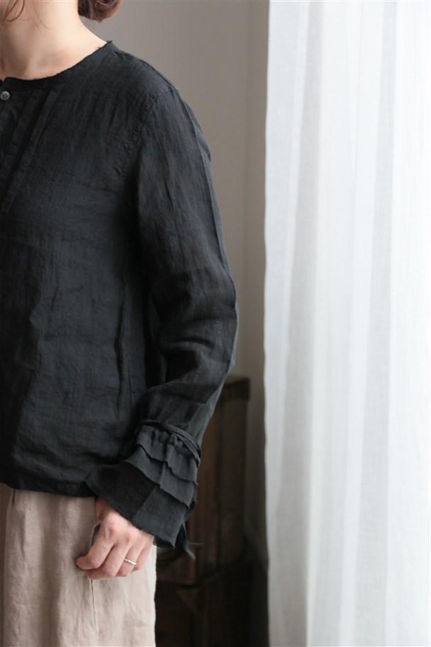 <SALE>13124271 vlas blomme 平織リネンパッチワークブラウス 00.ブラック