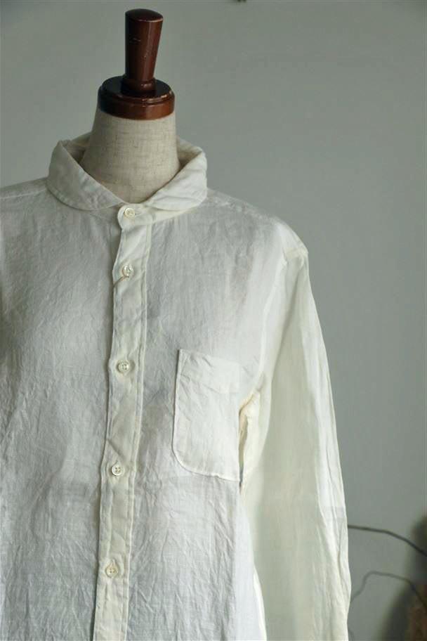 82649 prit リネンオックスフォードシャンブレー7分袖ラウンドカラーシャツ 01オフ