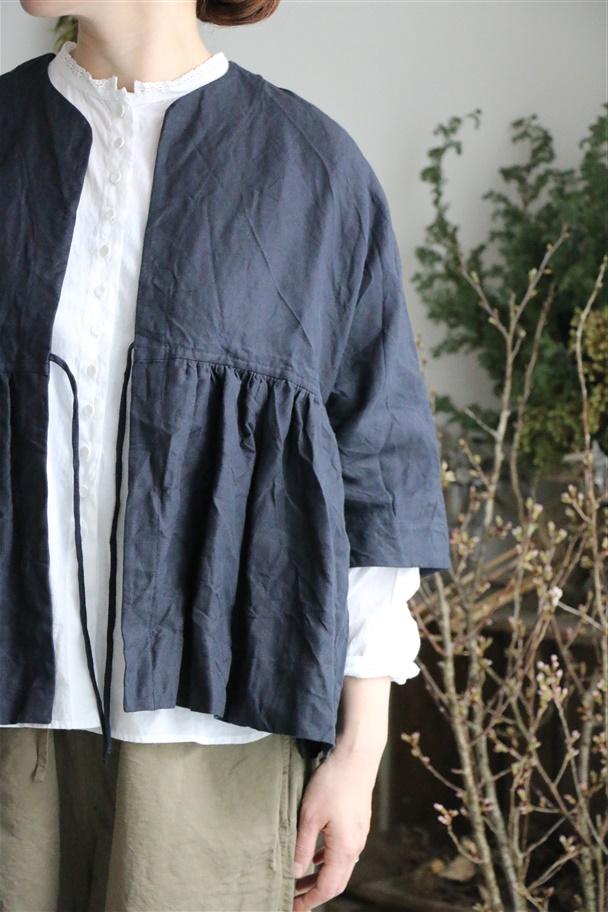 1901 suro リネン切り替えギャザージャケット 2色