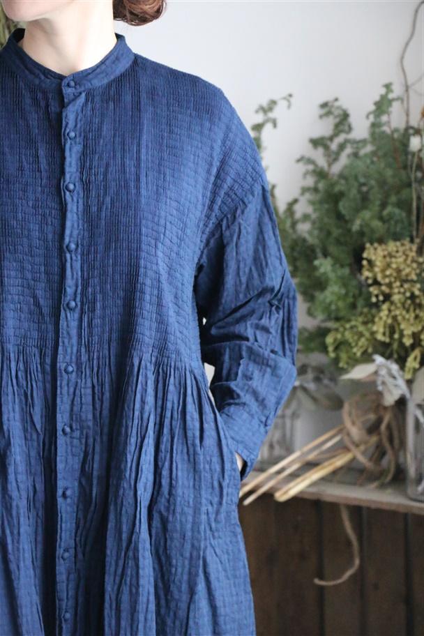 NMDS19034 maison de soil banded shirt dress with mini pintuck OP