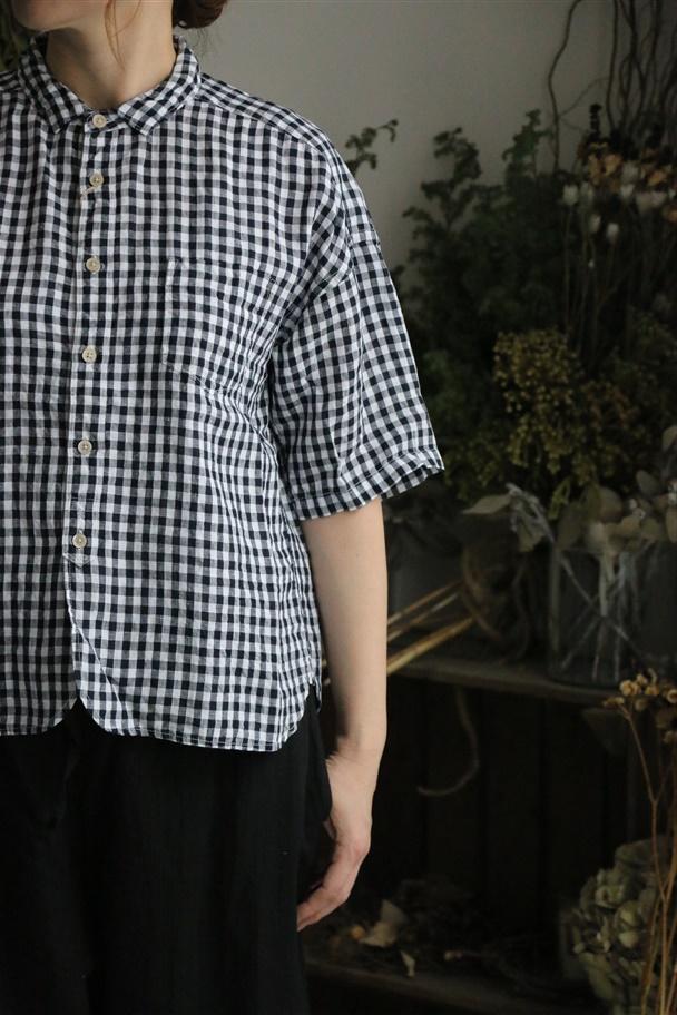 <SALE>82978 prit フレンチリネンギンガムチェック5分袖レギュラーカラーワイドシャツ 2色