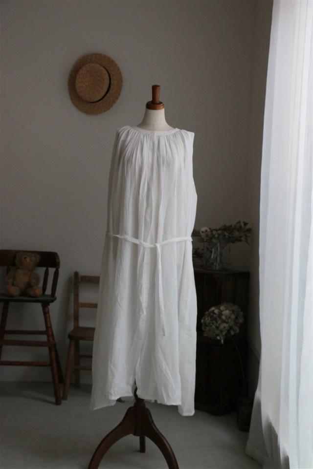 <SALE> G263 Gauze コットンギャザースリーブレスドレス WHITE
