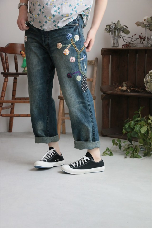 178M999242 marble SUD  rhythm YOYO tree DENIM PANTS サイズ展開あり