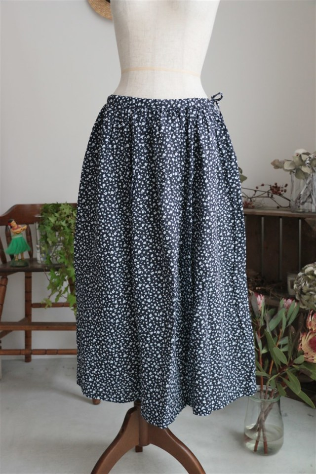 <SALE>G181 Gauze オリジナルプリントギャザーロングスカート 2色