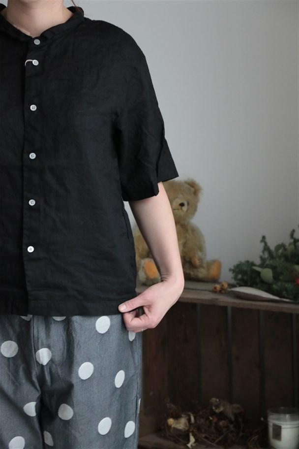 82728 prit 60/1ヨーロッパリネン平織ビッグスリーブショートカラーシャツ 3色