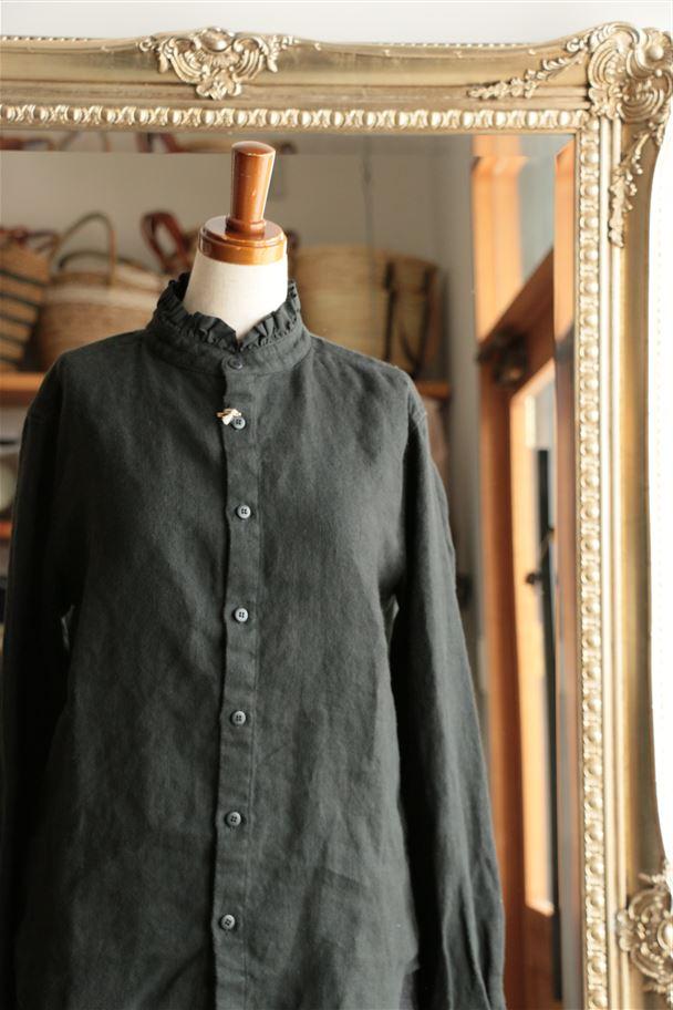 131217 vlas blomme 起毛リネンスタンドカラーシャツ ブラック