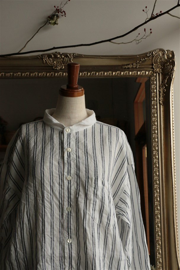 81735 prit 60/1フレンチリネンストライプバンドカラークレリックオーバーサイズシャツ