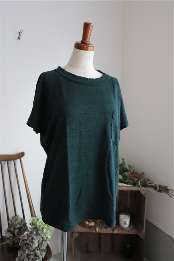 <SALE>12131661 vlas blomme ポケット付ラグランTシャツ