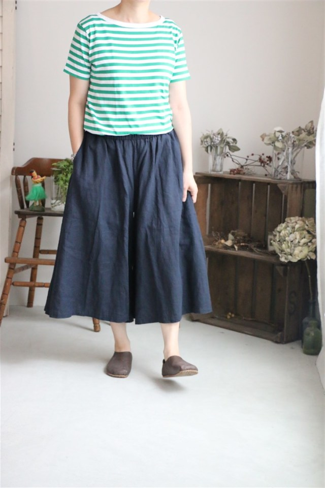 <SALE> 71188 FABRIQUE en planete terre FRENCH LINEN  wide pants
