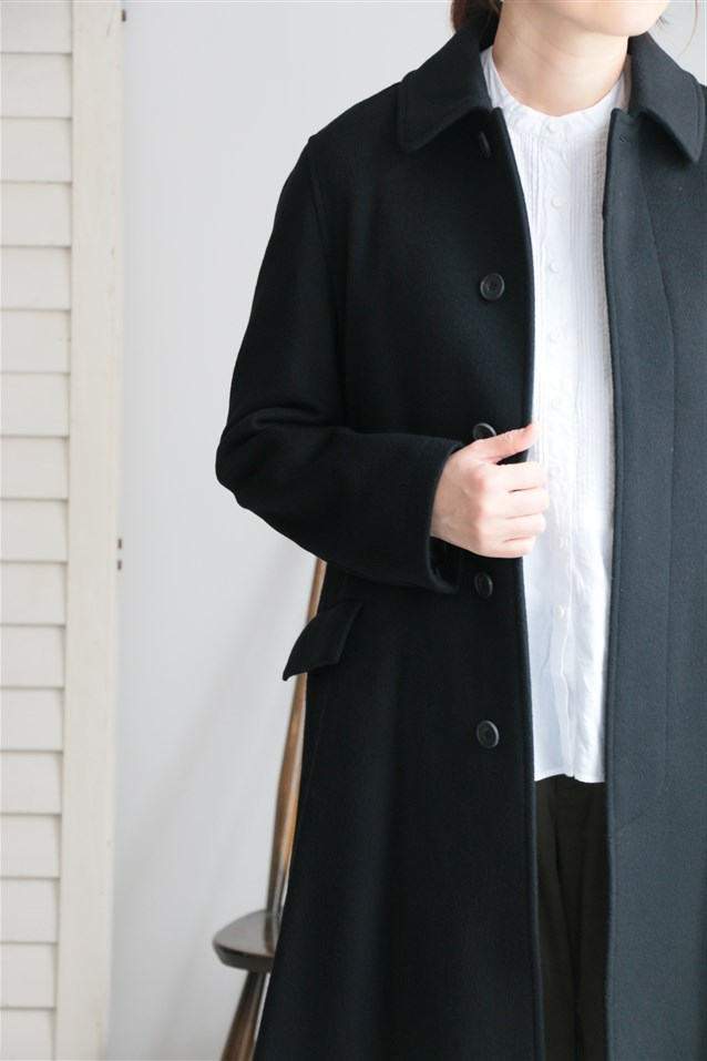 JNMDS maison de soil WOOL SINGLE BELTED COAT BLACK