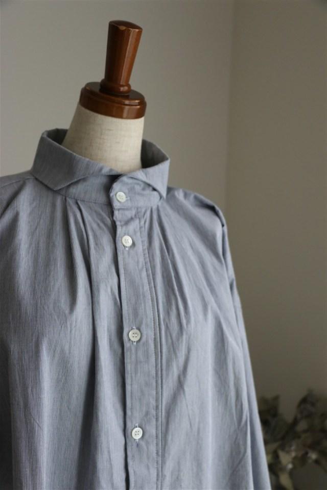 UT180SH078 UNIVERSAL TISSU コードレーンタックギャザーロングシャツ