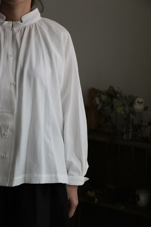 17-AW006C si si si COTTON TRIPLE WASH  SHIRT WHITE