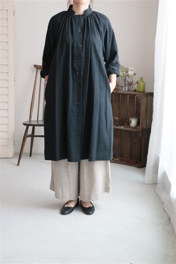 17AW005C si si si COTTON TRIPLE WASH MIDDLE SHIRT ONEPIECE BLACK