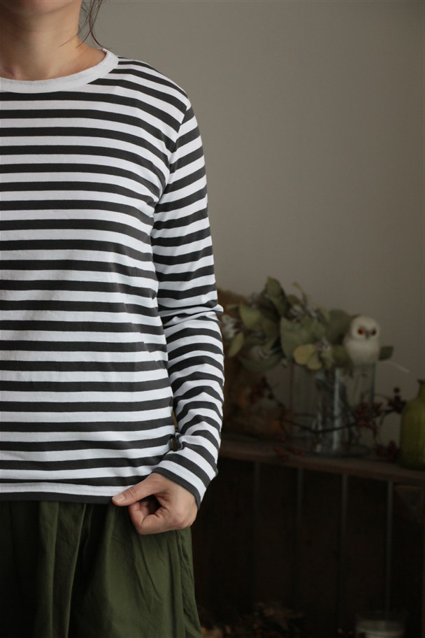 <SALE>72010 FABRIQUE en planete terre long sleeve border TEE 6色