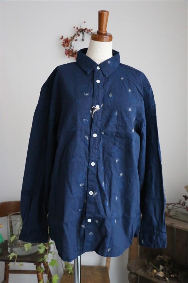 <SALE>13127081 vlas blomme 異素材使いシャツ